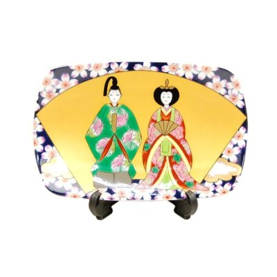[Made in Japan] Senmen hina Ornamental plate (Small)  (a plate displayed at the Girls' Festival)