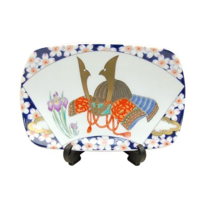 [Made in Japan] Senmen Kabuto (Small) Ornamental plate (a plate displayed at the Boys' Festival)