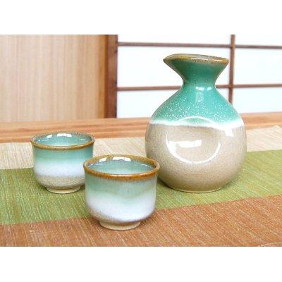 Photo2: Banshu Sake bottle & cups set (wood box)