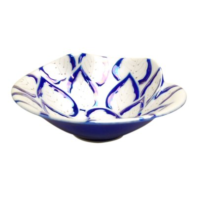 [Made in Japan] Yuzuriha (Blue) Large bowl