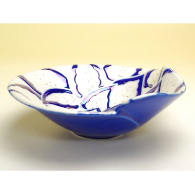 Photo3: Yuzuriha (Blue) Large bowl (18.2cm)