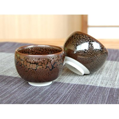 Photo4: Yuteki tenmoku Sake bottle & cups set (wood box)