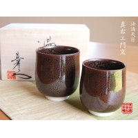 Yuteki Tenmoku (pair) Japanese green tea cup (wooden box)
