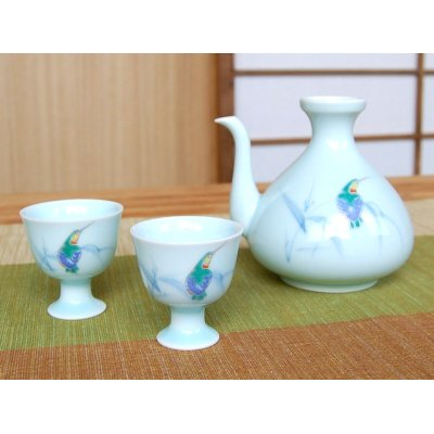 Photo2: Seihakuji kawasemi bird Sake bottle & cups set (wood box)