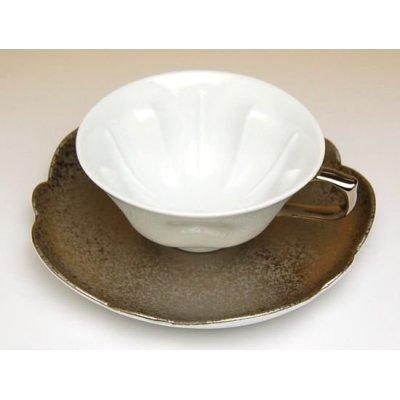 Photo3: Hakuji ginsai (Silver) SAKURA shaped Cup and saucer