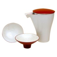 Red pearl Sake bottle & cups set