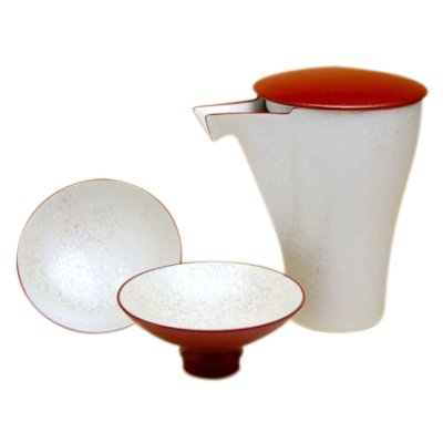[Made in Japan] Red pearl Sake bottle & cups set