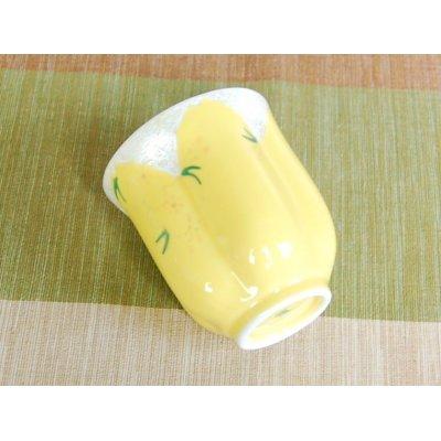 Photo4: Hana no mai (Yellow) Japanese green tea cup / SAKURA type(wooden box)