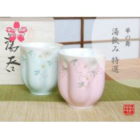 Hana no mai (Green & Pink /pair) Japanese green tea cup / SAKURA type(wooden box)