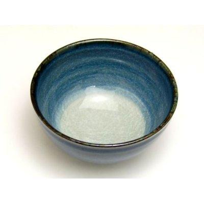 Photo2: Ai blue Japanese green tea cup