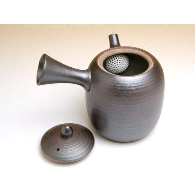 Photo2: Yakishime kurofuki Teapot