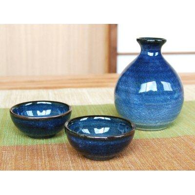Photo2: Ai blue Sake bottle & cups set (wood box)