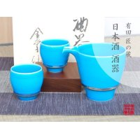 Konpeki SAKE pitcher and cups set (wood box)