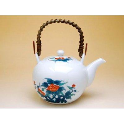 Photo2: Ironabeshima Iwa botan Tea set (5 cups & 1 pot)
