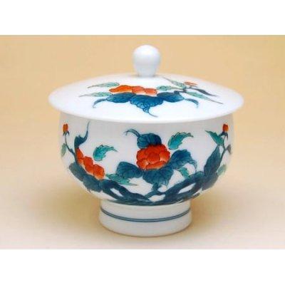 Photo3: Ironabeshima Iwa botan Tea set (5 cups & 1 pot)
