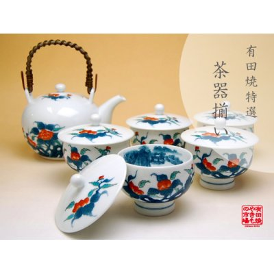 [Made in Japan] Ironabeshima uchi sansui Iwa botan Tea set (5 cups & 1 pot)