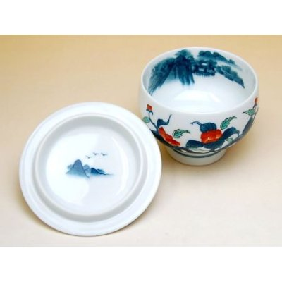 Photo3: Ironabeshima uchi sansui Iwa botan Tea cup set (5 cups)