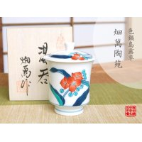 Iro nabeshima Tsuyukusa (Small) Japanese green tea cup (wooden box)