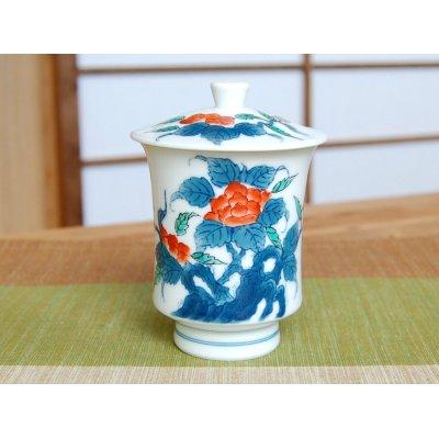 Photo2: Iro nabeshima Iwa botan (Large) Japanese green tea cup