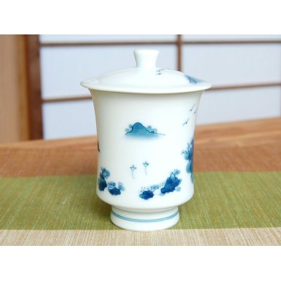 Photo4: Nabeshima sansui landscape (Large) Japanese green tea cup (wooden box)