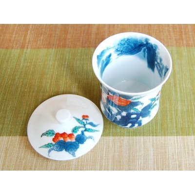 Photo3: Iro nabeshima uchi sansui Iwa botan (Large) Japanese green tea cup