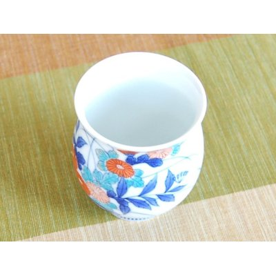 Photo4: Nabeshima Kogiku ryusui Japanese green tea cup (wooden box)