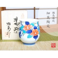 Nabeshima Tsubaki Japanese green tea cup (wooden box)