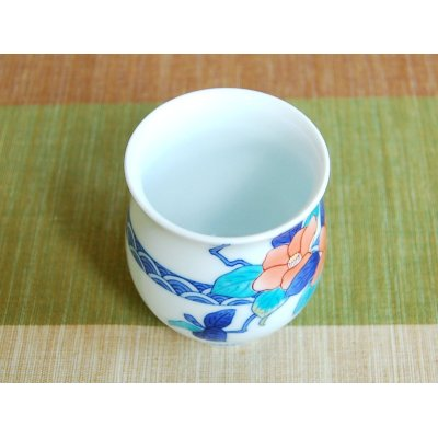 Photo4: Nabeshima Tsubaki Japanese green tea cup (wooden box)