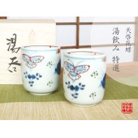 Tenkei kacho butterfly (pair) Japanese green tea cup (wooden box)