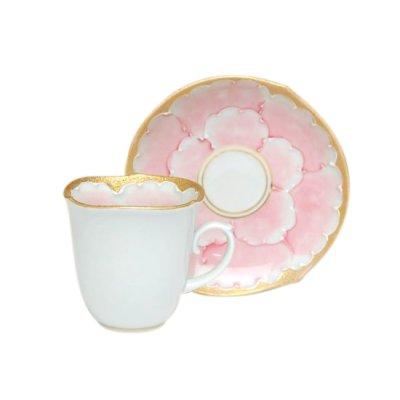 [Made in Japan] Kindami pink botan Demitasse cup and saucer