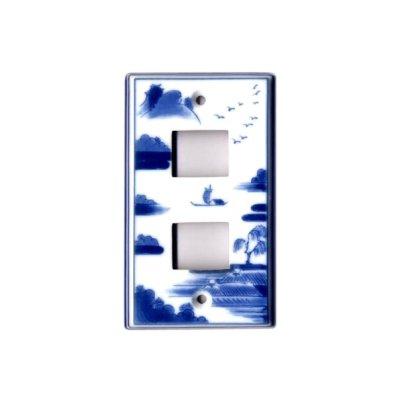 [Made in Japan] Sometsuke sansui landscape (2 hole) plug socket cover