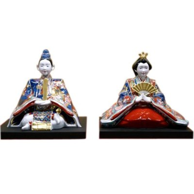 [Made in Japan] Ko-imari style Suwari Hina doll (a doll displayed at the Girls' Festival)
