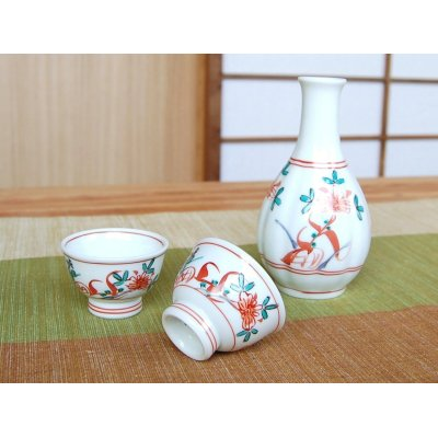 Photo2: Nishiki manreki (1-go) Sake bottle & cups set (wood box)