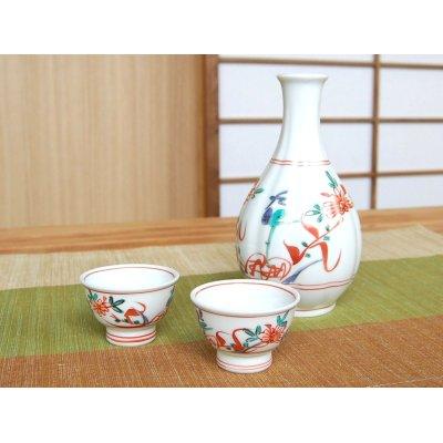 Photo2: Nishiki manreki (2-go) Sake bottle & cups set (wood box)