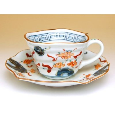 Photo2: Hana manreki Cup and saucer