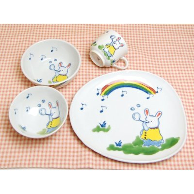 [Made in Japan] <Child tableware>Soap bubble half set (4 pieces)