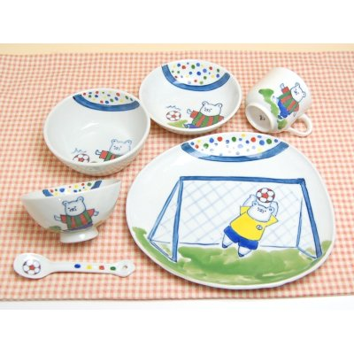 [Made in Japan] <Child tableware>Soccer whole set (6 pieces)