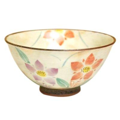 [Made in Japan] Hana rindow (Red) rice bowl