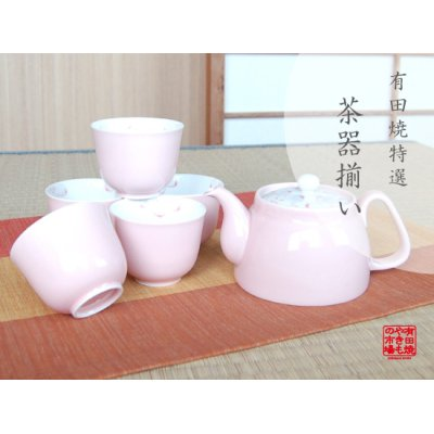 [Made in Japan] Pink flower Tea set (5 cups & 1 pot)