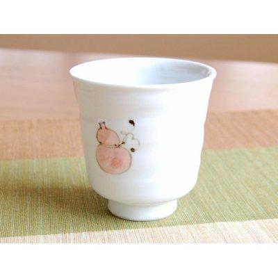 Photo2: Hana mubyo (Red) Japanese green tea cup