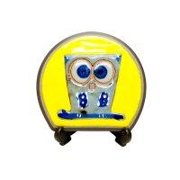 Ai fukurou owl (Yellow) Small ornamental plate