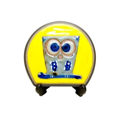 [Made in Japan] Ai fukurou owl (Yellow) Small ornamental plate