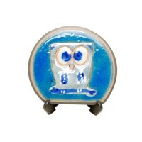 Ai fukurou owl (Blue) Small ornamental plate