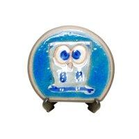 Ai fukurou owl (Blue) Small ornamental plate