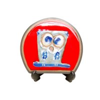 Ai fukurou owl (Red) Small ornamental plate