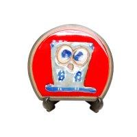 Ai fukurou owl (Red) Small ornamental plate