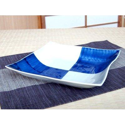 Photo2: Ichimatsu square Large bowl (23cm)