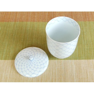 Photo3: Naigai Ami (Blue) Japanese green tea cup (wooden box)