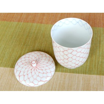 Photo3: Naigai Ami (Red) Japanese green tea cup (wooden box)