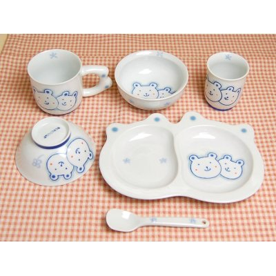 [Made in Japan] <Child tableware>Sukusuku bear whole set (6 pieces)